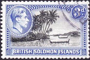 BRITISH SOLOMON ISLANDS 1951 KGVI 3d Black & Ultramarine SG65a FU