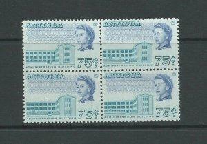 Antigua 1966 Definitive Block of 4 75c Blue & Ultramarine Mounted Mint SG 192