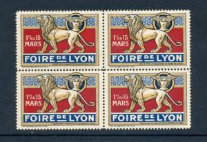 4 VINTAGE FRANCE POSTER STAMPS (L412) 1929 FRENCH  Fiore De Lyon Science