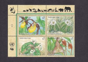 United Nations Vienna  #196-199a  MNH  1996  endangered species block of 4