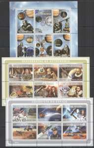 NS307-308 2008-2009 GUINEA SPACE EXPLORATION ASTRONOMY GAGARIN !!! 3KB MNH