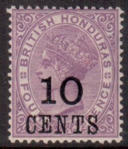 Br Honduras Scott 30 - SG40, 1888 10c on 4d MH*