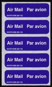 CANADA 2003 AIR MAIL LABELS STICKERS CAT #cc8720.9 PANE OF 5 CINDERELLA NICE LOT