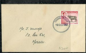 LESOTHO COVER (P0506B) 1967 1C COW ON COVER THABANA MORENA TO MASERU