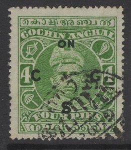 INDIA-COCHIN SGO10 1919 4p GREEN USED