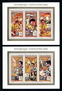 [93781] Central African Rep. 1995 Scouting Butterflies Mushrooms 2 Sheets MNH