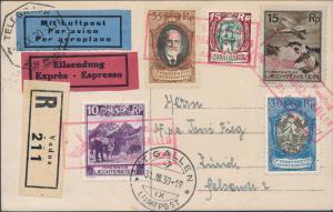 1930 Lichtenstein Graf Zeppelin LZ 127 RPPC Postcard cover to Zurich Switzerland