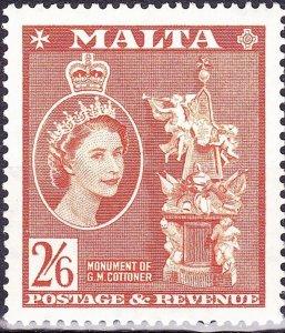 MALTA 1956 QEII 2/6s Chestnut SG279 MH