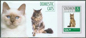 SOLOMON ISLANDS  2014 DOMESTIC CATS SOUVENIR SHEET MINT NH