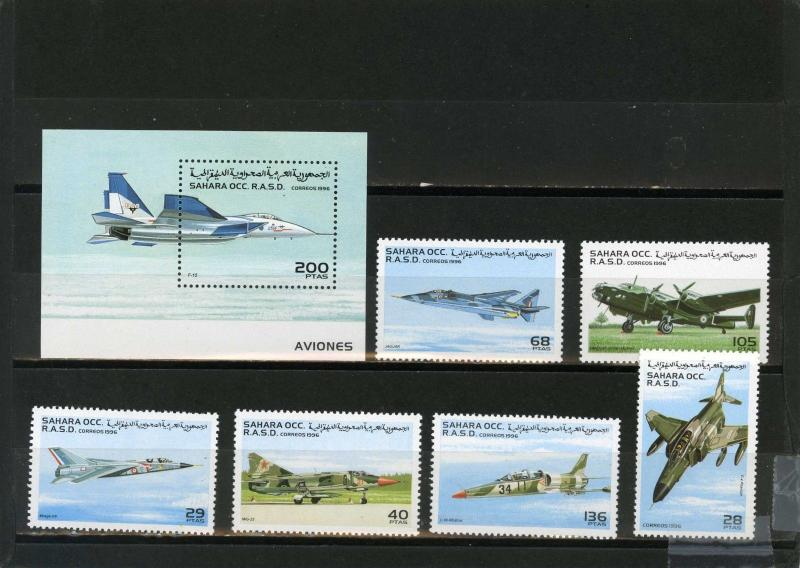 SAHARA OCC 1996 MILITARY AVIATION SET OF 6 STAMPS & S/S MNH