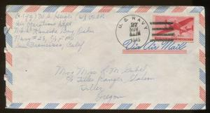 1945 US Navy California Air Operations Department Air Mail USNR Postal Cover