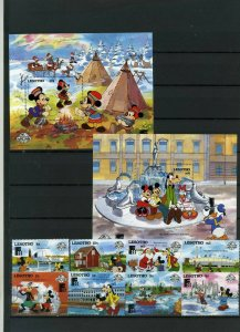LESOTHO 1988 WALT DISNEY STAMP EXPO FINLANDIA'88 SET OF 8 STAMPS & S/S MNH