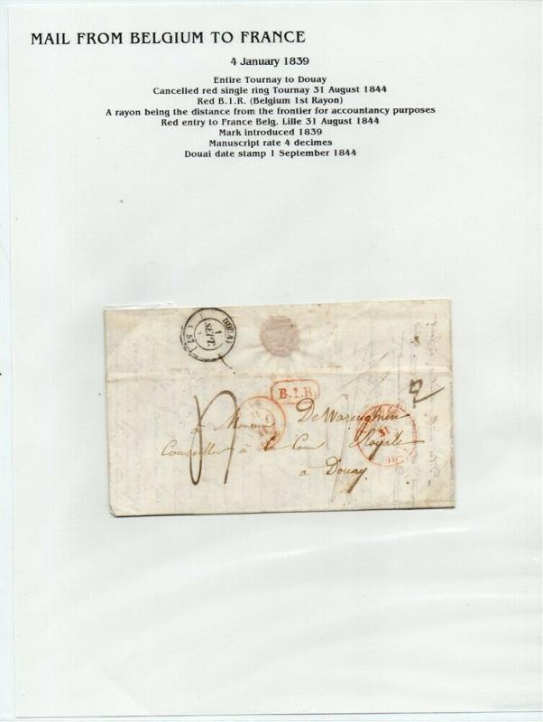 FRANCE Early Incoming LETTER/COVER 1839 fine used item Tournay - Douai