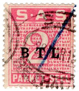 (I.B) South Africa Railways : Parcel Stamp 2/-