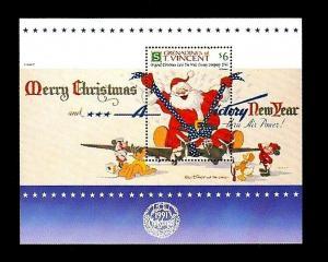 ST VINCENT - 1991 - DISNEY - MICKEY - SANTA - CHRISTMAS CARD - MINT MNH S/SHEET!