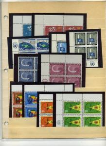 United Nations 25 Imprint Blocks of 4 CV $21.80