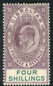 GIBRALTAR-1903 4/- Dull Purple & Green.  A mounted mint example Sg 53