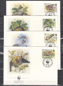 Bulgaria, Scott cat. 3398-3401. W.W.F.- Bats issue. First day covers.