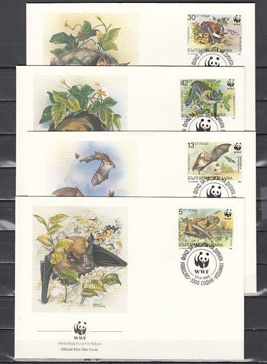 Bulgaria, Scott cat. 3398-3401. W.W.F.- Bats issue. First day covers.
