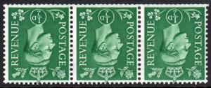 GB KGVI 1941 0.5d Pale Green SG485Wi Block x 3 Inverted Watermark Mint Hinged