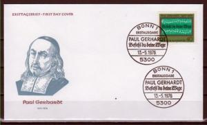 Germany, Scott cat. 1215. Paul Gerhardt, Hymn Writer issue. First day cover.