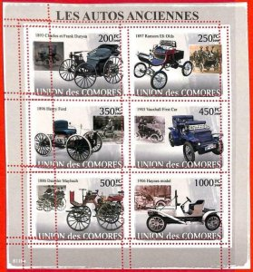 A3176 - COMOROS, ERROR MISSPERF, Miniature sheet: 2009, Old cars, Vauxhall, Ford