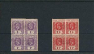 GILBERT & ELLICE IS 1922-27 1d & 1½d BLKS OF 4 FU WITH OCEAN IS CANCELS SG 28/29