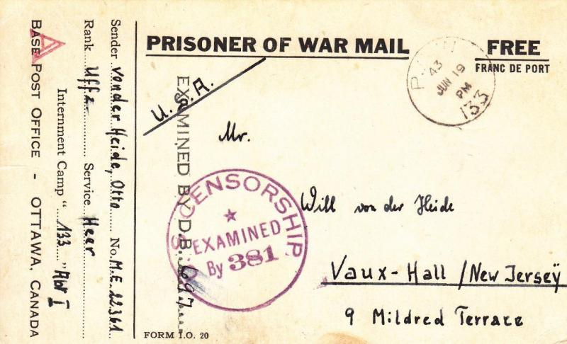 German POW in Canada Camp 133 to New Jersey, 1943, See Remark (C1218)