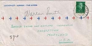 Netherlands 50c Queen Juliana 1950 Delft Airmail to Hagerstown, Md.  MONARCH ...