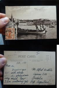 Malta 1 1/2d on Fishing Boat PPC to Argentina, unusual (33bet)