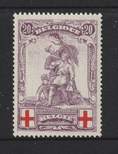 Belgium a 20c + 20c Red Cross MH from 1914