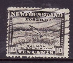Newfoundland- Sc#260-used 10c Salmon-id8-1941-44-