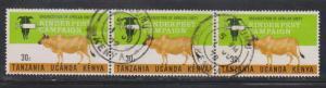 KENYA UGANDA & TANZANIA Scott # 233 Used Strip Of 3 - Rinderpest Campaign