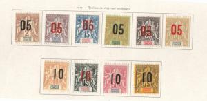 Grand Comoro Island Scott 20-29 MH* 1912 set