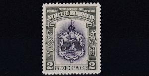 NORTH BORNEO  1939  S G 316  $2  VIOLET & OLIVE GREEN   MH  CAT £300