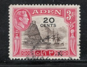 Aden 1951 King George VI Surcharge 20c Scott # 39 Used