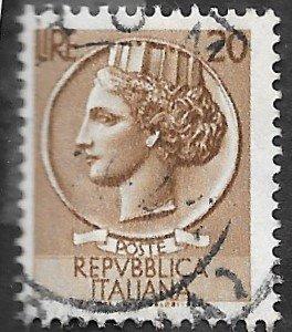 Italy Scott #680 20 l Italia (1955) Used