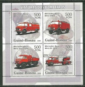 Guinea-Bissau MNH S/S Fire Trucks 4 Stamps 2006