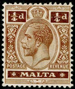 MALTA SG69, 1/4d brown, M MINT. WMK MULT CA