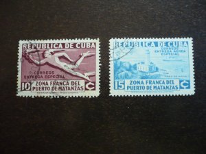 Stamps - Cuba - Scott# E8, CE1, Used Set of 2 Stamps