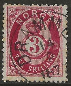 Norway 1872-75 Porthorn 3sk Carmine #18a Fine Used CV $16.00