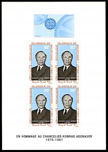 Mauritania C71a, MNH, Konrad Adenauer Deluxe imperf. souvenir sheet