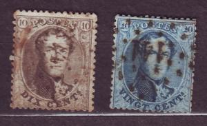 J14824 JLstamps 1863-5 belgium used #14-5 kings