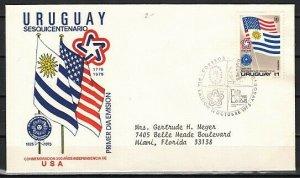 Uruguay, Scott cat. C417. USA Bicentennial issue. First day cover. *