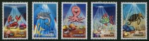 HERRICKSTAMP NEW ISSUES CURACAO Sc.# 205-09 Youthcare 2014 Cartoon Turtle, Fish