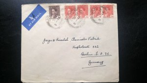 RARE IRAQ 1938 RARE USAGE 8 FILS MULTIPLE STAMP AIR MAIL COVER TO GERMANY HARD
