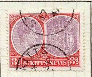 St Kitts Nevis 1938 GVI Early Issue Fine Used 3d. 308013