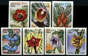 HERRICKSTAMP LAOS Sc.# 554-60 Woodland Flowers Imperf Stamps