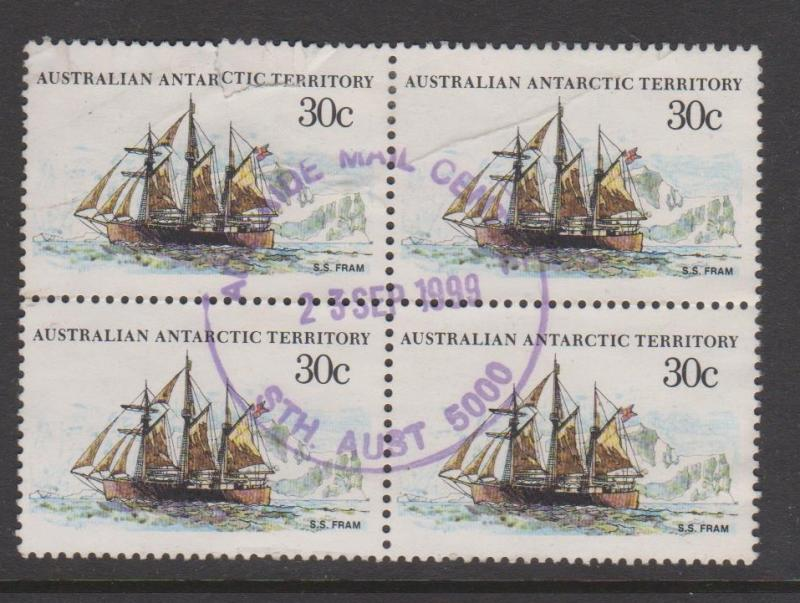 Australia Sc#L46 Used Block of 4 Tear top left stamp