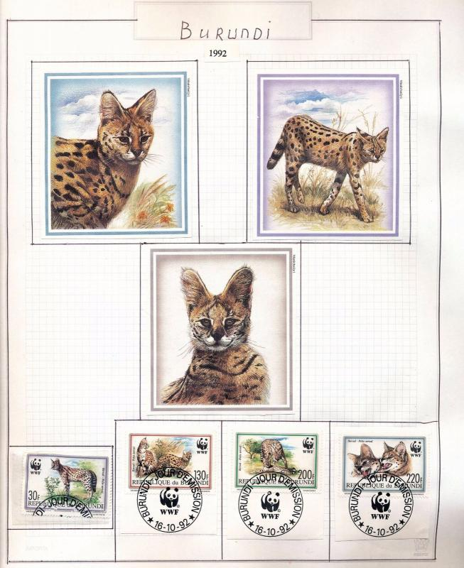 Burundi 1992/2010 Wildlife Cats Dogs Dinosaurs Birds Used Sheets 35+ DAB 847